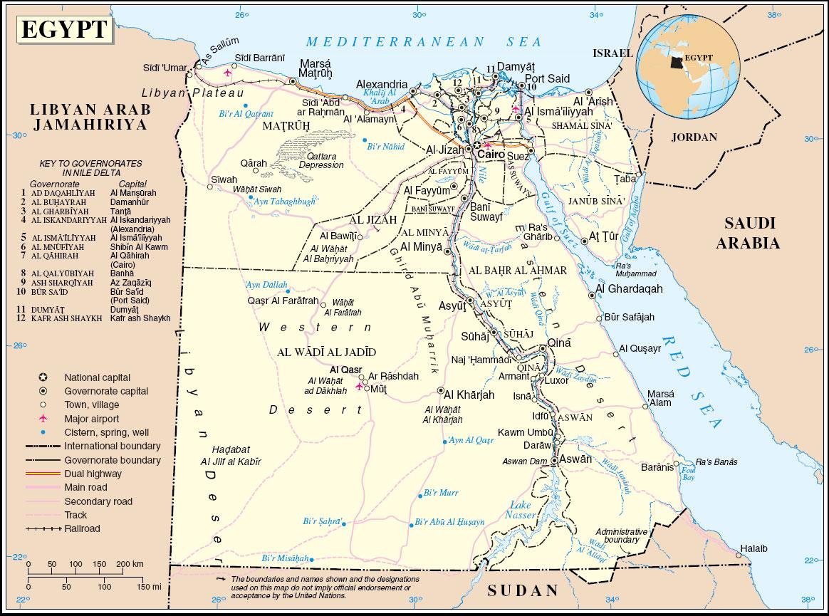 Carte Egypte,geographique Egypte,population Egypte,climat Egypte